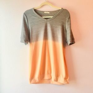 Peach Orange and Light Gray Ombre Top